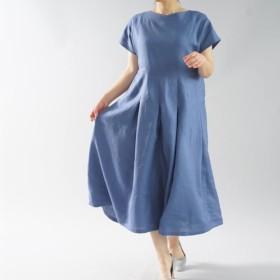【wafu】リネンワンピース Vネック フレンチスリーブ ドレス タックスカート/セルリアンブルー a062e-cbn1