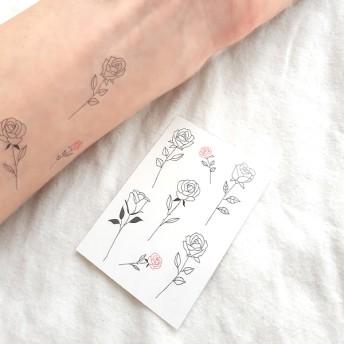 かわいい小さめ薔薇の線画のタトゥーシール ハーフサイズ