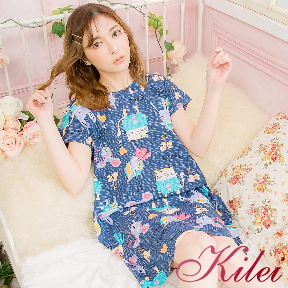 【Kilei】手繪動物卡通棉質短袖連身裙睡衣XA4080(童趣藍)全尺碼