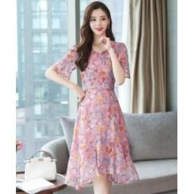 2点送料無料 レディース  ワンピースドレス  半袖   シフォン 花柄  ロング  気質  ジョーゼット   ファッション
