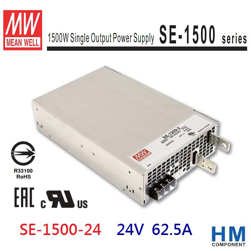 明緯 MW(MEAN WELL) 電源供應器 SE-1500-24 24V 62.5A 原廠公司貨-HM