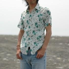 【アウトレット】ボタニカル柄シャツ FLOWER GREEN 国産 A-08032 L