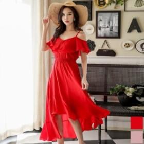 ロングワンピース 送料無料 オフショルダーシフォンフリル半袖付きテールカットAラインロングワンピース♪レッド 赤 ピンク ドレス