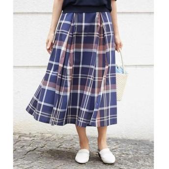 MICHEL KLEIN / ミッシェルクラン 【セットアップ対応/洗える】ビッグチェックタックフレアスカート