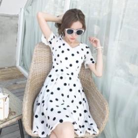 フレアワンピース シフォン シースルー ひざ丈 体型カバー ゆったり 半袖 大人可愛い カジュアル 韓国ファッション トレンド レディース