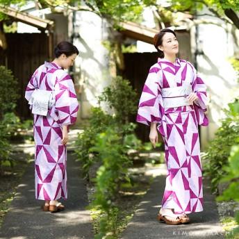 浴衣 - KIMONOMACHI 京都きもの町オリジナル 浴衣2点セット「パープル レトロ幾何学模様」S F TL LL お仕立て上がり 女性浴衣セット 浴衣セット女性レディース
