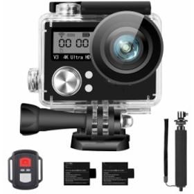 アクションカメラ 4K ウェアラブルカメラ 防水 カメラ アクションカム WIFI搭載 1600万画素 前面と背面ダブルインチ液晶画面 170度広角 4