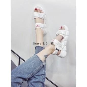 【新作】人気厚底美脚サンダル レディーススポーツサンダル スポサン レディースサマーサンダル 歩きやすいサンダルの靴のins潮の2019夏