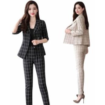 スーツ パンツスーツ 2点セット リクルート レディース おしゃれ ハンサム 30代 40代 50代 ファッション 通勤 フォーマル チェック柄