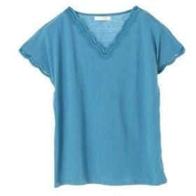 グリーンパークス Green Parks スカラップ刺繍Tシャツ (Blue)