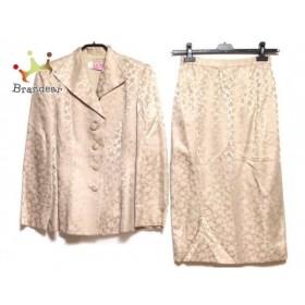ヨシエイナバ YOSHIE INABA スカートスーツ サイズ9 M レディース ベージュ 肩パッド/花柄 新着 20190712