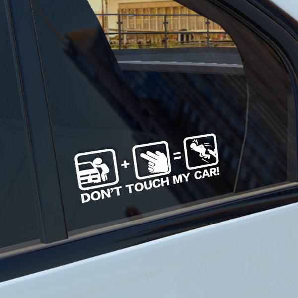 汽車裝飾貼紙玻璃文字don t touch my car碰別動我的車反光車貼紙