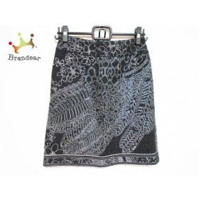 レオナール LEONARD スカート サイズ38 M レディース 美品 黒×シルバー 花柄   スペシャル特価 20190914