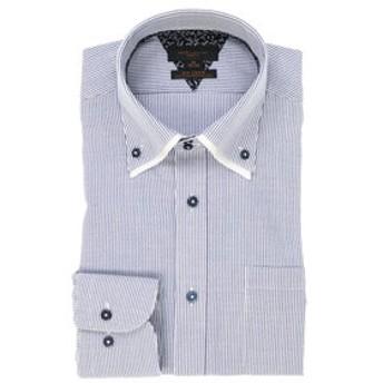 【m.f.editorial:トップス】形態安定スリムフィットドゥエボットーニボタンダウン2枚衿長袖ビジネスドレスシャツ