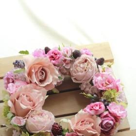 【購入者プレゼントあり】1点ものです♪ベージュピンクのローズがオシャレでかわいいアートフラワーのリース♪SNS映えします