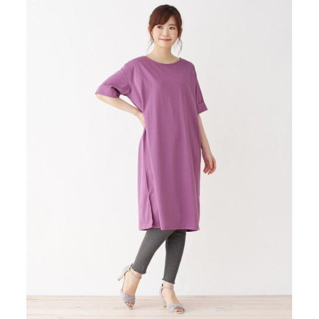 pink adobe シルケットTシャツワンピース+レギンスセット