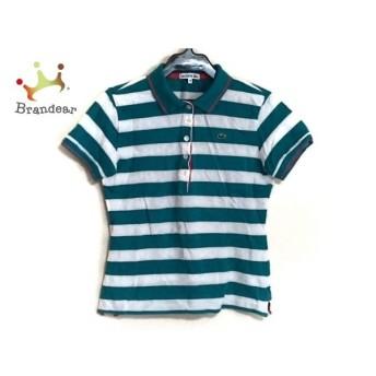 ラコステ Lacoste 半袖ポロシャツ サイズ40 M レディース 美品 グリーン×白×ピンク ボーダー 新着 20190712