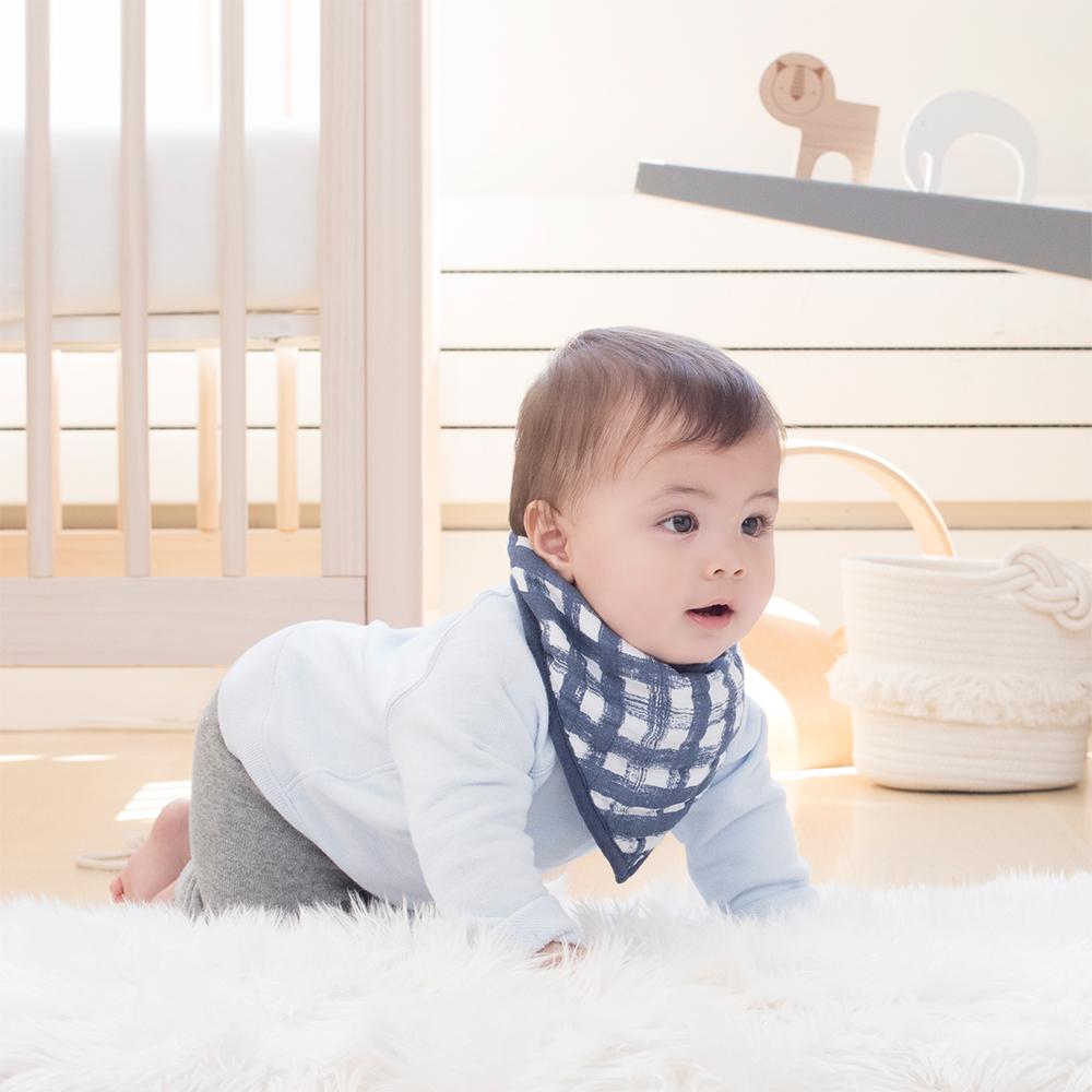 美國Aden & Anais 經典三角巾-藍色小狗/格子