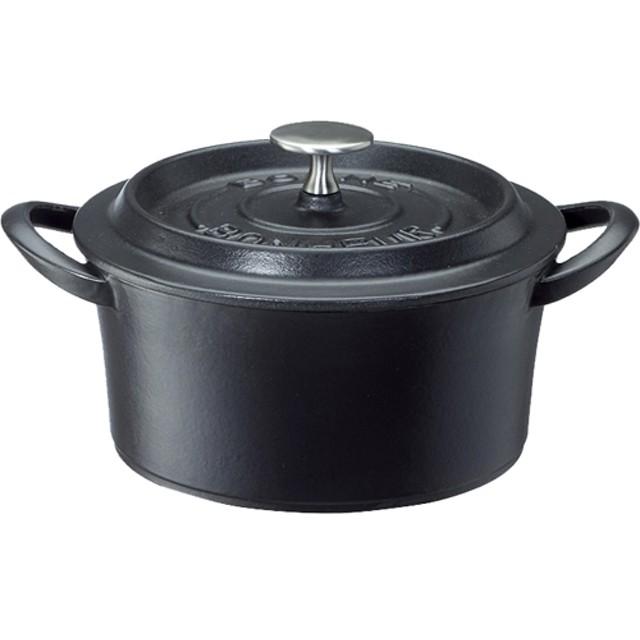 鋳物ホーロー両手鍋 ボンボネールココット 18cm ブラック 3619 (1コ入)