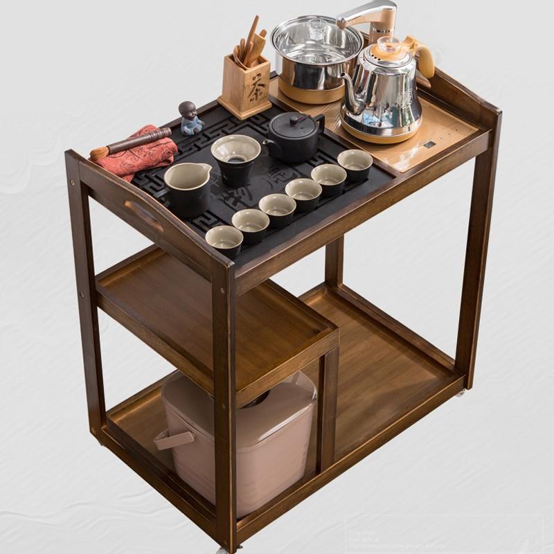 5Cgo中式移動茶台原色竹製茶車簡約家用茶水櫃實木小茶桌茶盤功夫茶具套裝全自動嵌入式複古風 577026438058