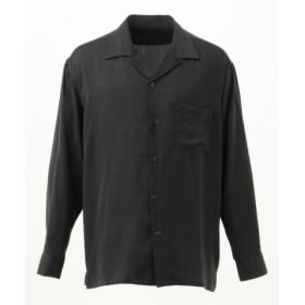 (SHARE PARK/シェアパーク)サテン オープンカラーシャツ/メンズ グレー系