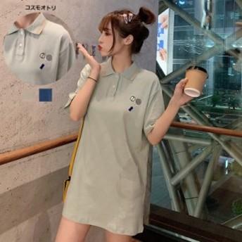 Tシャツワンピース 送料無料 ワンピース リゾート 半袖 ミニ丈 レディース ロングTシャツ 3色 ショート ワンピ ポロシャツ