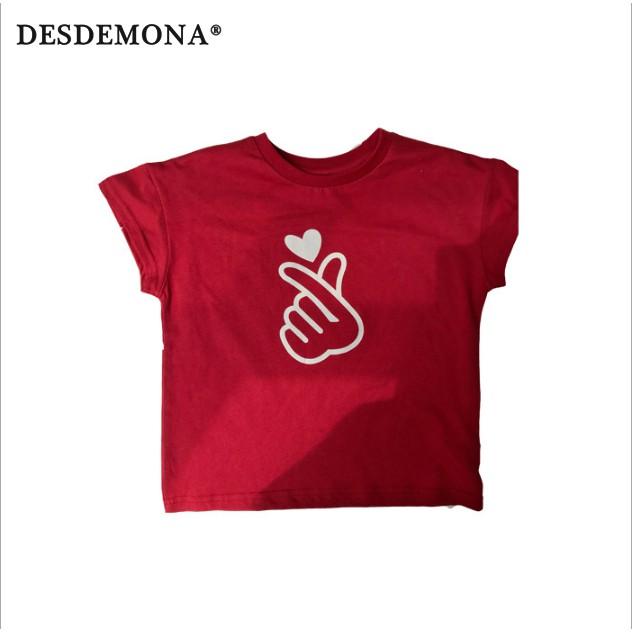 夏季新款 童裝全家親子裝比心母子母女嬰兒爬服短袖百搭父子裝短袖t恤 [DM商城]