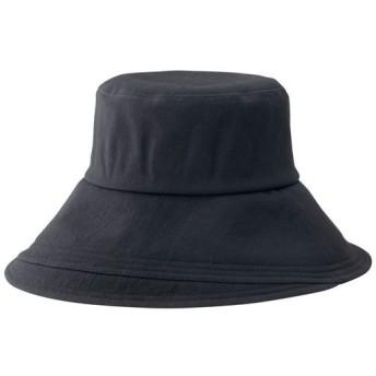 綿100%のつば広UV帽子 - セシール ■カラー:ブラック