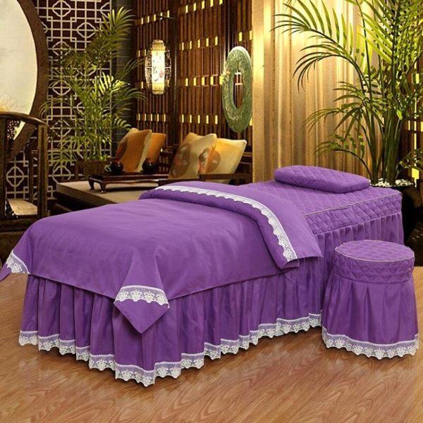 美容床套 純棉美容床罩四件套四季美容院SAPA按摩床罩理療床套四件套