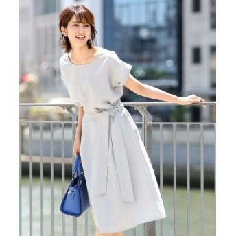 麻調合繊ワンピース見えセットアップ(Tブラウス+共布リボン付スカート) (ワンピース),dress
