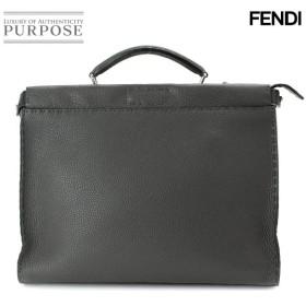 新同 フェンディ FENDI セレリア ピーカブー フィット ビジネス バッグ レザー ダークグレー 7VA406