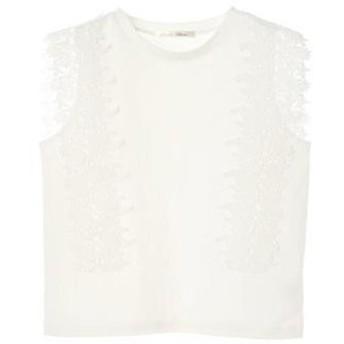 グリーンパークス Green Parks レースノースリーブTシャツ (Off White)