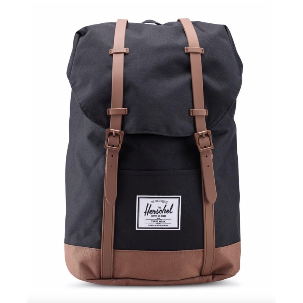 Herschel Retreat 大型 黑色 焦糖 棕色 帆布底 磁扣 橡膠帶 帆布 厚筆電層 後背包 [現貨]
