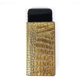 GAZE 多機種対応スライド式 手帳型ケース Gold Croco Diary Mサイズ【配達日時指定不可】