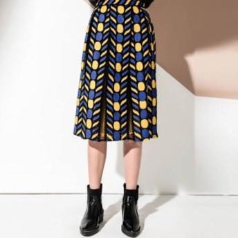 幾何学柄 スカート 刺繍デザイン メッシュ Aライン