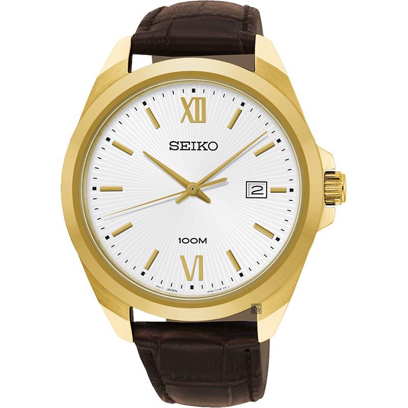 SEIKO 精工 城市時尚石英手錶-銀x金框/42mm 6N42-00H0J(SUR284P1)