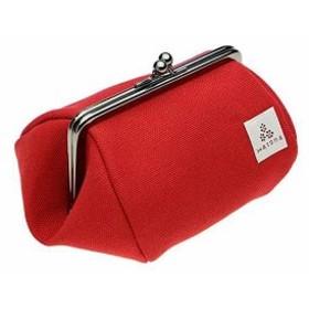 帆布がま口 化粧ポーチ Mサイズ[canvasctp-M-red](レッド)