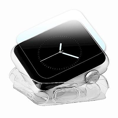 g-IDEA Apple Watch 38mm TPU 透明軟殼/鋼化玻璃貼組
