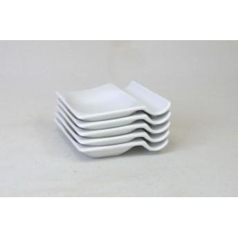 アイトー(Aito) 小皿 ホワイト 7.3×8×1.5cm 便利な箸置き小皿(5枚組)