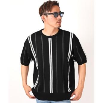 (LUXSTYLE/ラグスタイル)麻混ストライプクルーネック半袖BIGニット/ニット メンズ 半袖 5分袖 麻 ストライプ ビッグシルエット/メンズ ブラック