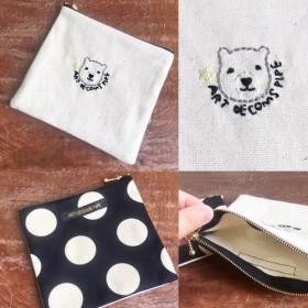 手刺繍で可愛い ️白クマロゴ刺繍の四角ポーチ(大サイズ)