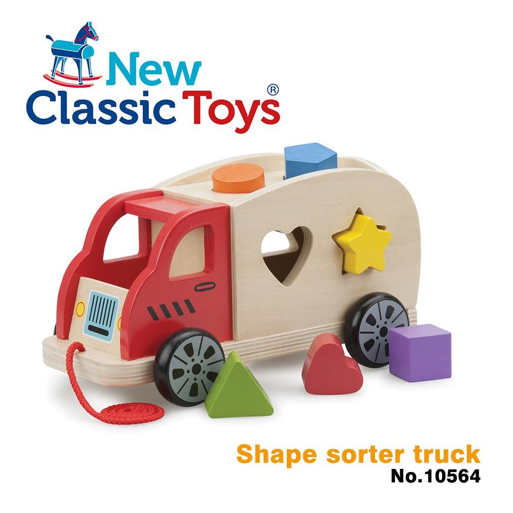 【荷蘭New Classic Toys】寶寶木製幾何積木車 10564