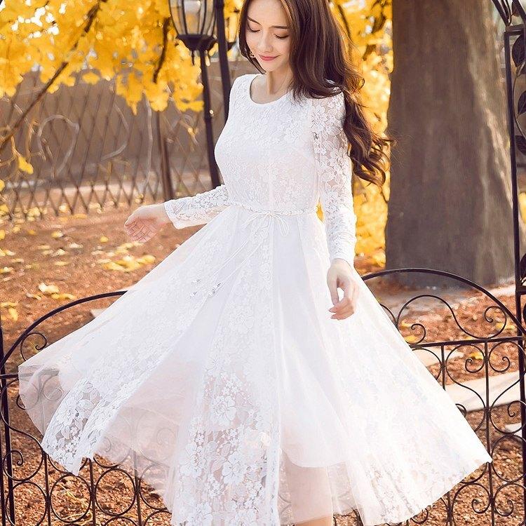 現貨白色*圓領蕾絲花朵拼接網紗過膝長袖洋裝(附珍珠腰帶)[98628-QF]灰姑娘