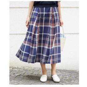 MICHEL KLEIN / 【セットアップ対応/洗える】ビッグチェックタックフレアスカート