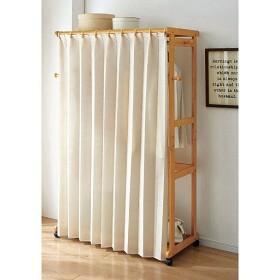 ハンガーラック(木製フレーム・カーテン付き) - セシール ■カラー:ブラウン ナチュラル ■サイズ:A,C,B