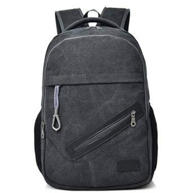 キャンバス リュック | ユニセックス | アウトドア | コンピュータバッグ | 学生バッグ (ブラック)