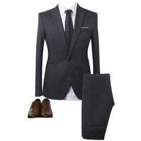 GETS(ゲッツ) スーツ メンズ 2点セット スリーピース 上下セット ジャケット スラックス セットアップ 1つボタン ビジネススーツ スリム 着心地良い 礼服 結婚式 就職スーツ オールシーズン シンプルデザイン 無地 スタイリッシュスーツ パーティー スーツ (ブラック,Xxl)