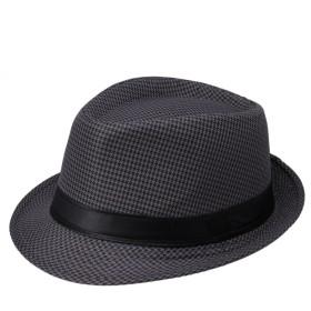 C-Princessコットン亜麻 麦わら帽子型 格子柄 ストローハット グレースハット 紫外線対策帽子 ユニセックス (5ブラック)