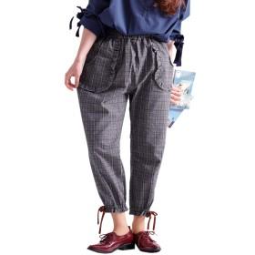 [ゴールドジャパン] 大きいサイズ レディース 裾 リボン 付き チェック 柄 クロップド パンツ kz33338022 LL グレー