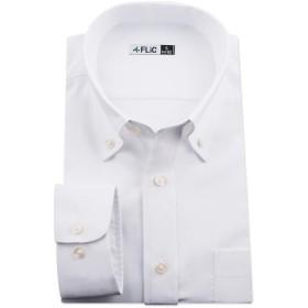 (フリック) FLiC ノーアイロン ドライ ストレッチ ワイシャツ メンズ 長袖 形態安定 吸水速乾 白 ホリゾンタル ボタンダウンhq-s3l-86-fb1403